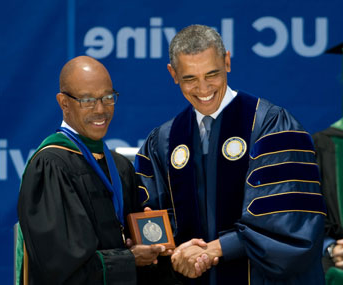 President Obama with then-UC Irvine Chancellor Drake at 2014 UC Irvine commencement
