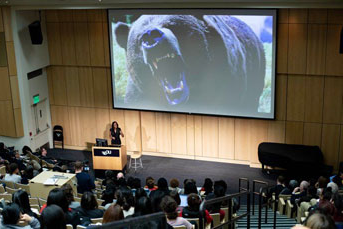 Nadine Burke Harris speaks in Cole Hall at UCSF's Parnassus campus