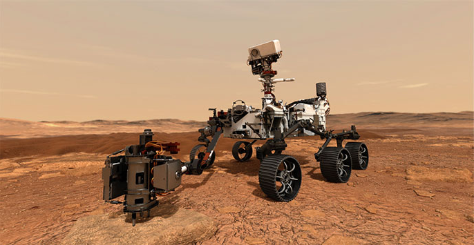 Mars rover on Mars visualization
