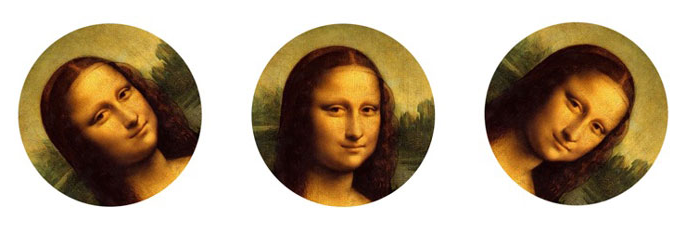 Mona lisa face at 3 angles