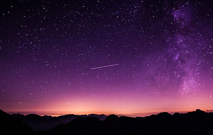 Purple night sky