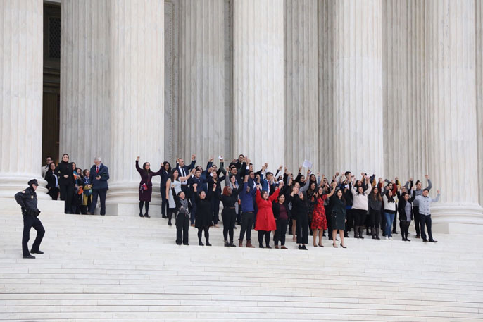 DACA recipients and allies on the Supreme Court steps