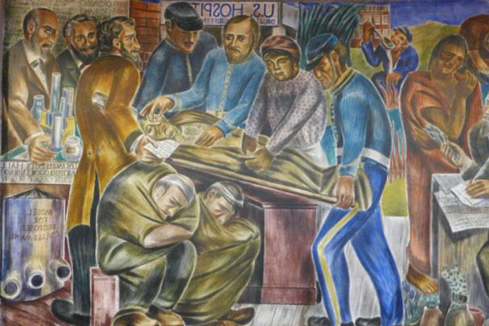 Mural of people helping someone on a stretcher