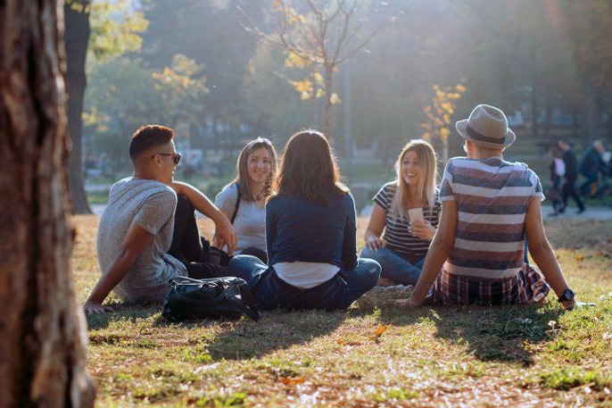 Young people picnicking